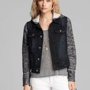 Free People Denim and Knit Hooded Jacket